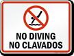 Bilingual No Diving Prohibition Sign