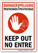 Bilingual Danger Pesticides Keep Out Sign