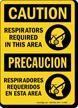 OSHA Caution Bilingual Respirators Required Sign