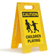 Caution Children Playing Floor Sign