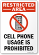 Cell Phone Prohibited Sign