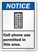 Cell Phone Use Permitted Area ANSI Notice Sign