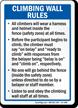 Climbing Wall Rules Wear Helmet Sign