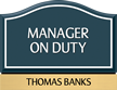 Santera HT Manager On Duty Sign w/Border, 6.5 in. x 8.5 in.
