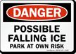 Danger Falling Ice Parking Sign