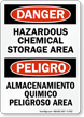 Hazardous Chemical Storage Area Bilingual Sign