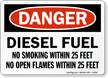 Diesel Fuel No Smoking Within 25 Feet Sign