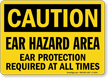 Ear Hazard Area Ear Protection Required Caution Sign