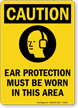 Ear Protection Must Be Worn OSHA Caution Sign