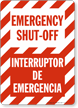 Bilingual Emergency Shut-Off Interruptor De Emergencia Sign