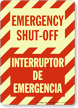 Bilingual Emergency Shut-Off Glow Sign