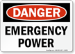 Emergency Power OSHA Danger Sign