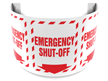 180 Degree Projecting Emergency Shut-Off Sign with arrow