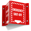 Emergency Shut Off Projecting Sign