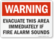 Evacuate Area If Fire Alarm Sounds Warning Sign