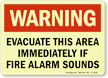 GlowSmart Evacuate Area Immediately If Alarm Sounds Sign