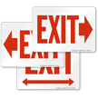 Exit Sign with Red Right Arrow Direction
