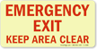 Emergency Exit Keep Area Clear (horizontal)
