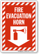 Fire Evacuation Horn Down Arrow Sign