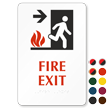 Braille Fire Exit Arrow Sign