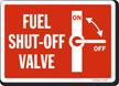 Fuel Shut Off Valve Sign