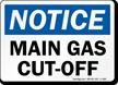 Notice Main Gas Cut Off Sign
