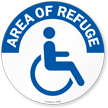 Area of Refuge, Handicap Symbol SlipSafe™ Floor Sign