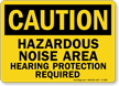 Hazardous Noise Area, Hearing Protection Required Caution Sign