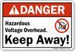 Hazardous Voltage Overhead Keep Away Sign