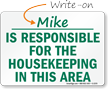 Is Responsible For The Housekeeping Sign