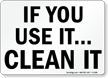 Use Clean It Sign