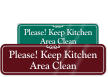 Keep Kitchen Area Clean ShowCase™ Wall Sign