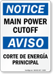 Main Power Cutoff Bilingual Sign