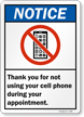 Thank You For Not Using Cell Phone Sign