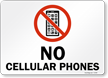 No Cellular Phones with Graphic Sign