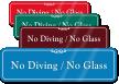 No Diving No Glass ShowCase Wall Sign