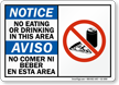 No Eating Or Drinking Bilingual Sign