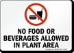 No Food or Beverages Allowed Sign