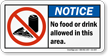 No Food Drink Allowed Area Sign