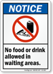 No Food Drink In Waiting Areas Sign