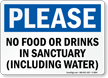 No Food Drinks In Sanctuary Please Sign