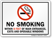 California No Smoking Within 8 Feet Exits Sign