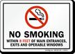 California No Smoking Within 8 Feet Exits Sign