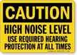 High Noise Level Hearing Protection Required Caution Sign