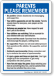Parents Please Remember Playground Rules Sign