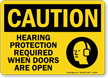 Hearing Protection Required When Doors Open Sign