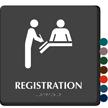 Registration Braille Sign with Hospital Receptionist Symbol