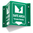 Safe Area Tornado Shelter Sign with Down Arrow