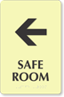 Safe Room Left Arrow Braille Sign