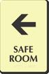 Safe Room Left Arrow Braille Sign